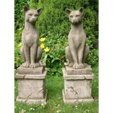 Sitting Left & Right Cats on Plinths