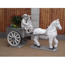 Horse & Cart With Boy & Girl