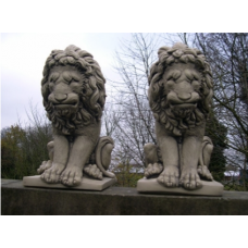 Pair of Large Sitting Lions