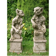 Pair of Gargoyles on Plinths